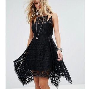 NEW Free People Black Lace Just Like Honey Dress 6